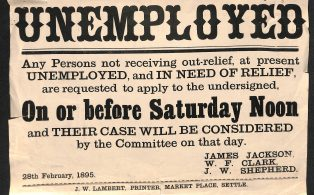 """""""Unemployed Relief"""" notice - Settle - 1895"""