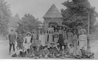 A School Group at the Fountain c 1904