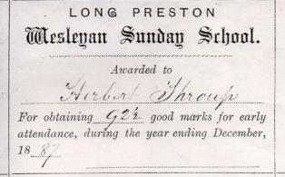 Long Preston Wesleyan Sunday School Certificate of Attendance