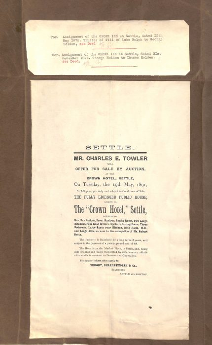 Flyer Announcing the Sale of the Crown Hotel - Settle
