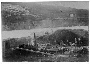 Building of Settle higher reservoir 1906