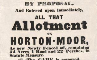 """To Be Let"" notice for Allotment on Horton Moor - 1849"