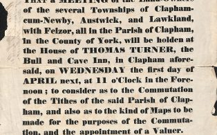 Notice of a Meeting re. Tithes for Clapham, Austwick & Lawkland - 1846