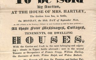 Notice of Sale of Cottages and Croft in Upper Settle - 1831