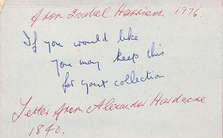 Letter from Alexander Hardacre