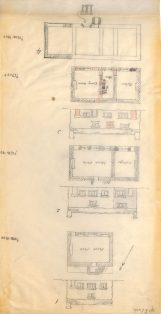 Pencil sketch plan of cottages on Malham Tarn House estate undated