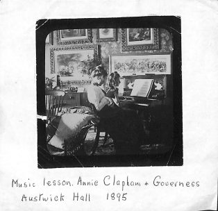 Music Lesson Annie Clapham and Governess at Austwick Hall dated 1895