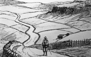 Line Drawing of a Walker in the Dales