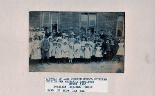 Long Preston School Children outside the Mechanics Institute circa 1900