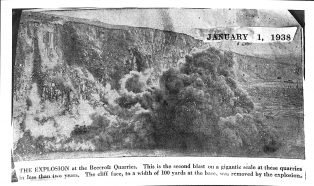 Newspaper Picture of Blasting at Beecroft (Horton) Quarry