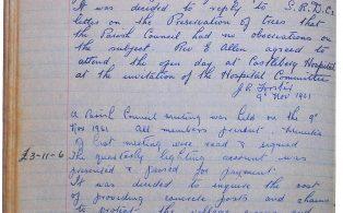 Parish Council minutes re WW1 Memorial