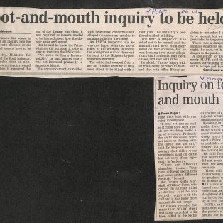 Foot & Mouth Epidemic 2001