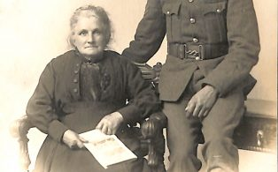 Postcard of Mrs Dixon and Dickie at Butts Hill, Brackenbottom