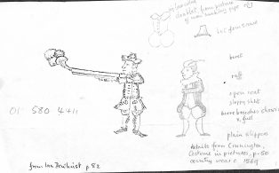 Note and Drawing of Costumes c1569 ex John Bentham