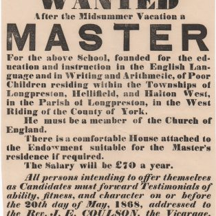 Advertisements for a Schoolmaster