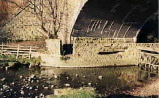 The Railway Bridge at Long Preston showing the empty Iron Bridge buttress c. 1990's