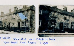 Fred Stork's shoe shop and cobblers shop, Main Street, Long Preston. c. 1926