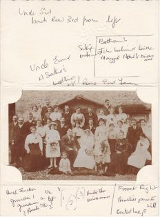 Photograph of the wedding of Ernest Sarginson and Sallie Bentham taken at Rowe end Farm.